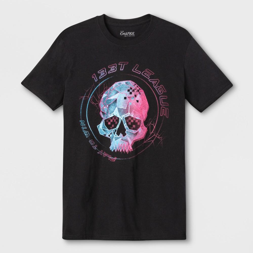 Men's Short Sleeve Skull Crew Graphic T-Shirt - Black S