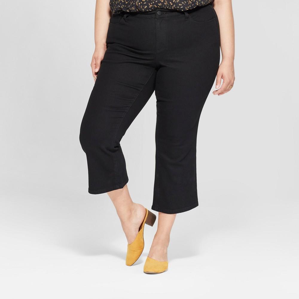 Women's Plus Size Kick Boot Crop Jeans - Universal Thread Black 26W
