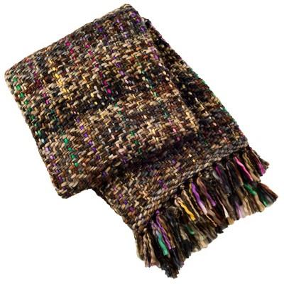 "50""x60"" Penny Knit Throw Blanket Rosewood/Black - Safavieh"