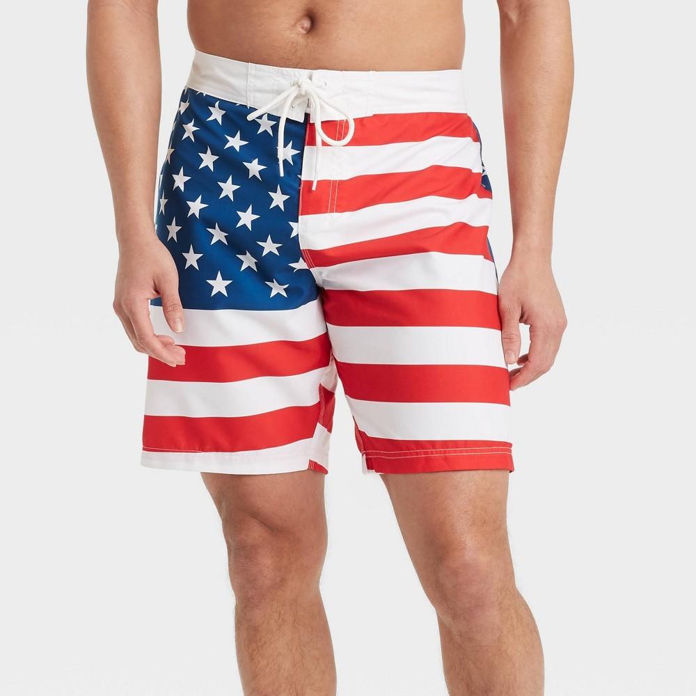 Men 39 S 8 5 34 Americana Swim Trunks White L