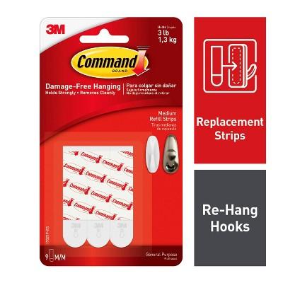 Command Medium Sized Refill Strips (9 Strips)White