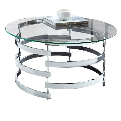 Tayside Cocktail Table Glass And Chrome Steve Silver Target
