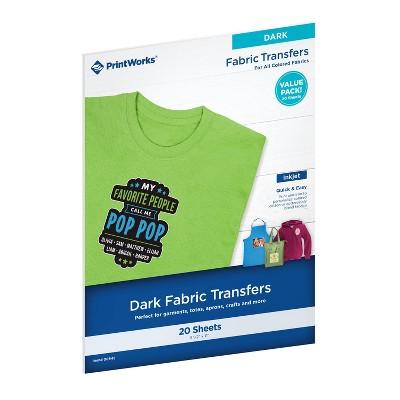 "20 Sheets Dark T-Shirt Transfers for Dark and Light Fabrics 8.5""x11""  - PrintWorks"