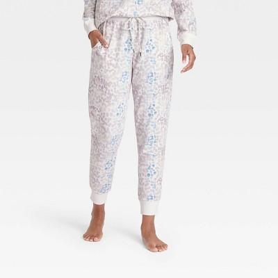 Women's Animal Print Beautifully Soft Fleece Lounge Jogger Pants - Stars Above™ Cream