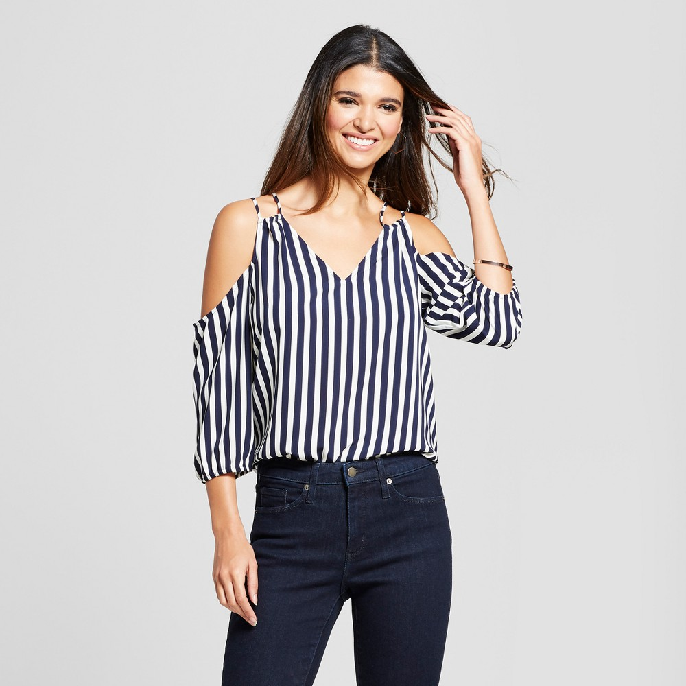 Women's Striped 3/4 Sleeve Cold Shoulder Blouse with Drawstring Shoulder Detail - Éclair Navy/White XS, Blue