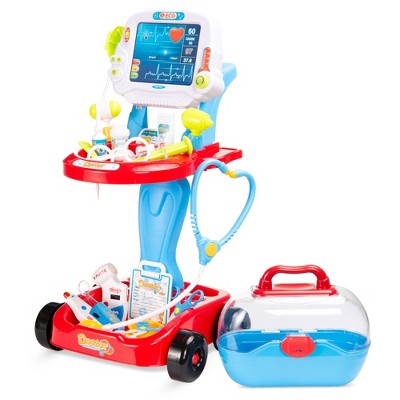 Best Choice Products Play Doctor Kit for Kids, Pretend Medical Station Set with Carrying Case, Mobile Cart