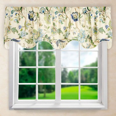 """Ellis Curtain Brissac High Quality Room Darkening Solid Natural Color Lined Scallop Window Valance - (70""""x17"""")"""