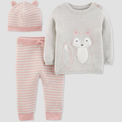Baby Girls' Sweater Top, Leggings and Hat Set - Just One You® made by carter's Pink 12M