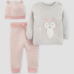 Baby Girls' Sweater Top, Leggings and Hat Set - Just One You® made by carter's Gray/Pink