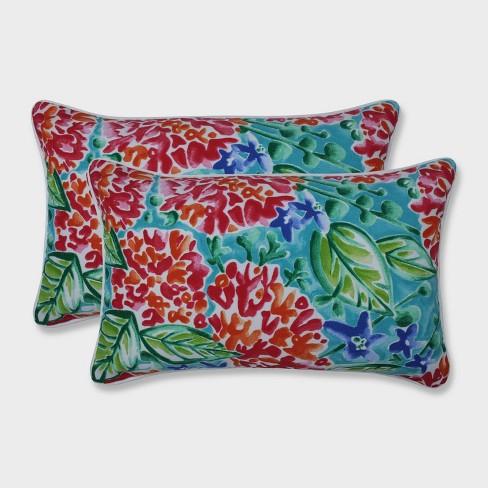 2pk Garden Blooms Rectangular Throw Pillows Pink - Pillow Perfect - image 1 of 1