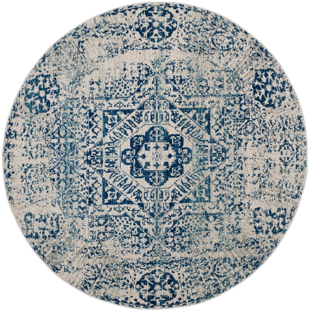 67 Round Medallion Loomed Area Rug Ivory/Blue - Safavieh Coupons