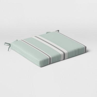 Woven Navy Stripe Outdoor Seat Cushion DuraSeason Fabric™ Aqua - Threshold™