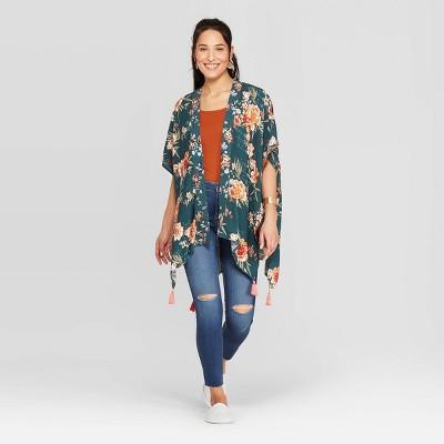 Women's Floral Print Elbow Sleeve Open Front Kimono Jacket   Knox Rose Green by Front Kimono Jacket