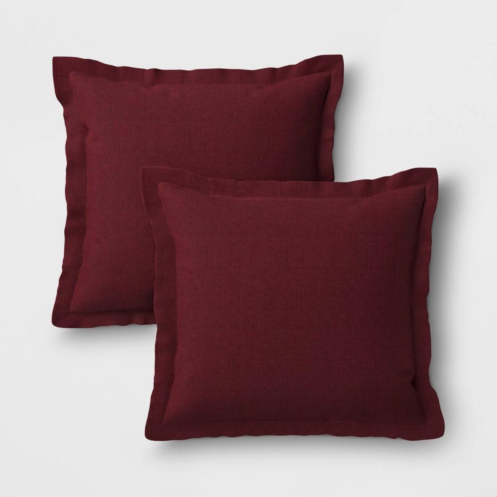 Image of 2pk Outdoor Throw Pillows DuraSeason Fabric Merlot - Threshold