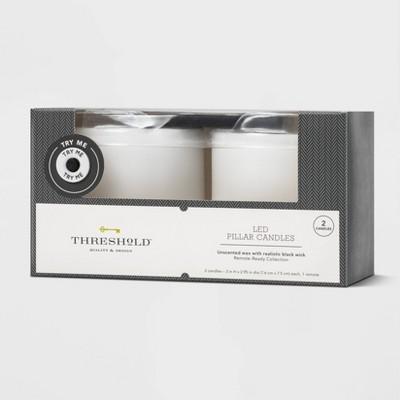 "2pk 3"" x 3"" LED Flameless Black Wick Candles White - Threshold™"