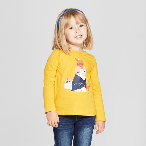 808ca63ad49 Toddler Girls  Long Sleeve Football Dogs T-Shirt - Cat   Jack™ Yellow