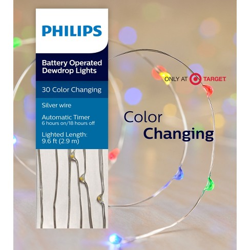 philips 30ct christmas led dewdrop lights battery operated slow color changing sw target - Christmas Light Necklace Battery Operated