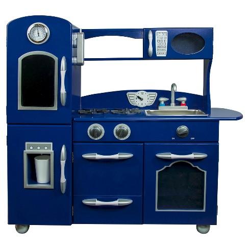 Teamson Kids Retro Wooden Play Kitchen Navy Blue
