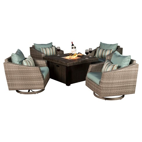 Cannes 5pc All-Weather Wicker Outdoor Fire Pit Conversation Set - RST Brands - image 1 of 11