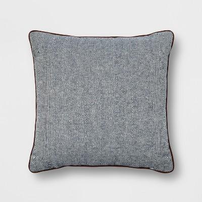 Woven Herringbone Oversized Square Throw Pillow Blue - Threshold™