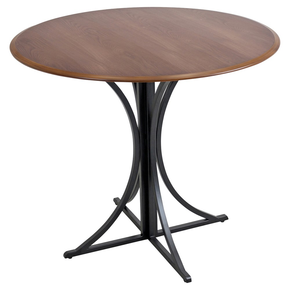 Boro Industrial Dining Table - Walnut (Brown) Wood/Black Frame - LumiSource