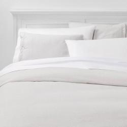 Heathered Micro Stripe Flannel Duvet Cover & Pillow Sham Set Gray - Threshold™
