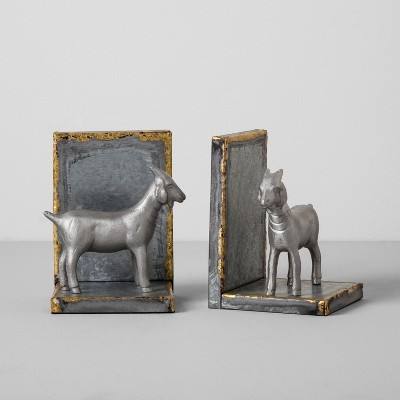 2pk Galvanized Goat Bookends - Hearth & Hand™ with Magnolia