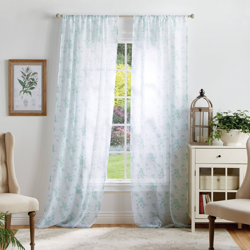 "Image of ""Set of 2 84""""x37"""" Bellefield Floral Sheer Curtain Panels Blue - Martha Stewart"""