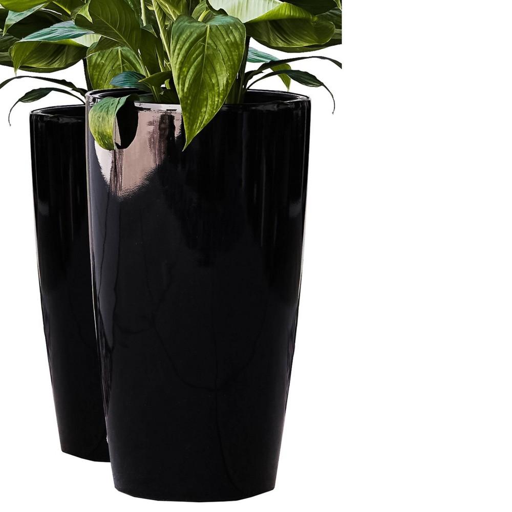 "Image of ""2pc 17"""" Indoor/Outdoor Round Plastic Self Watering Planter Black - XBrand"""