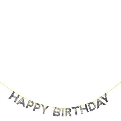 Meri Meri – Gold Glitter Cutout Happy Birthday Banner – Party Decorations and Accessories - 14'