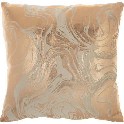 "Mina Victory Luminecence Metallic Marble Rose Gold Pillow - 20""X20"""
