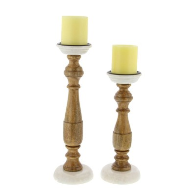 Set of 2 Contemporary Turned Wood Style Candle Holders - Olivia & May