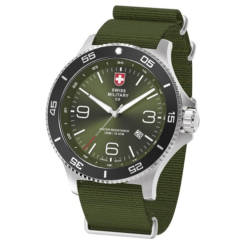 Men's Swiss Military by Charmex Infantry silver tone nato band watch - Army Green - image 1 of 2