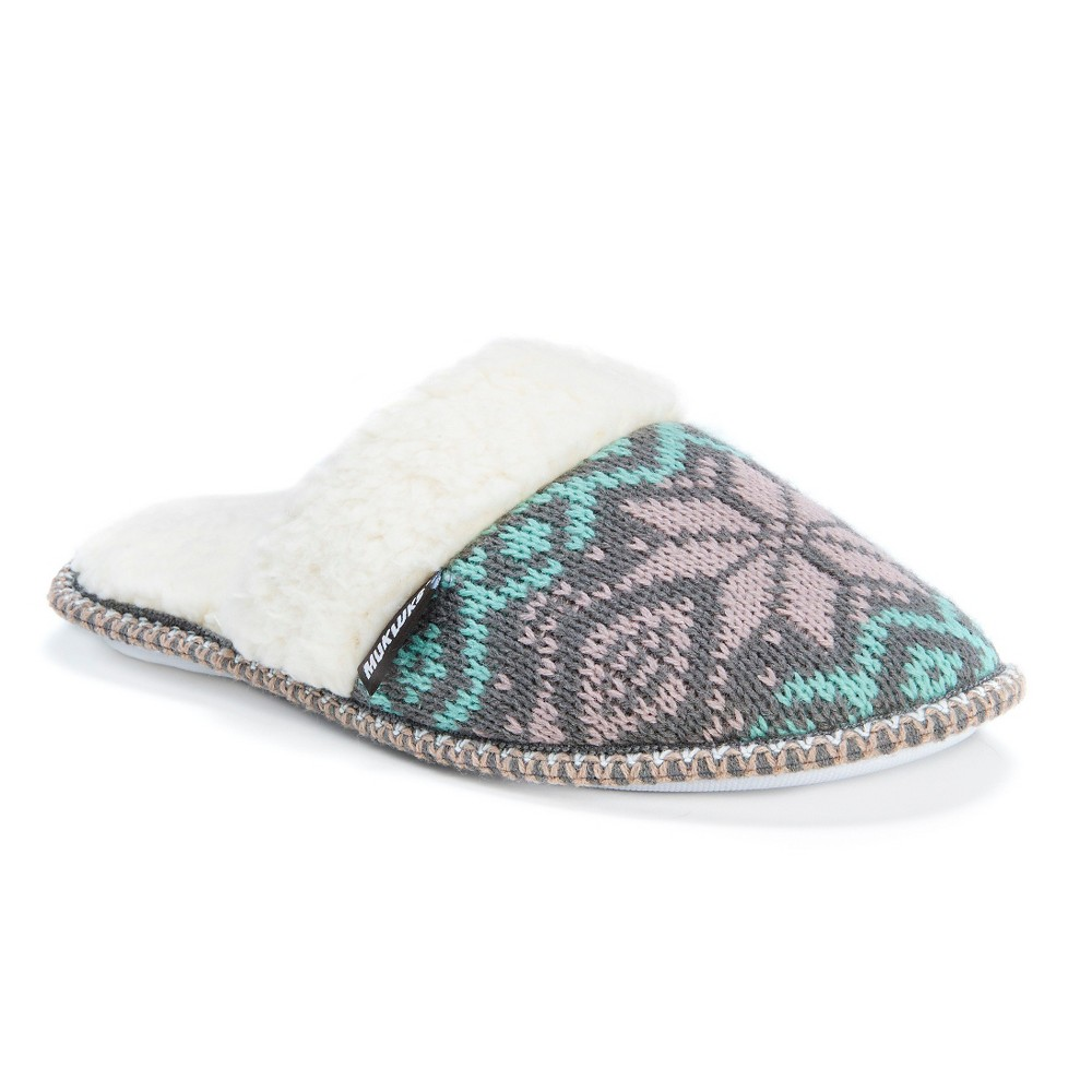 Women's Muk Luks Fair Isle Knit Scuff Slide Slippers - Gray/Teal (Gray/Blue) L(9-10), Size: L (9-10)