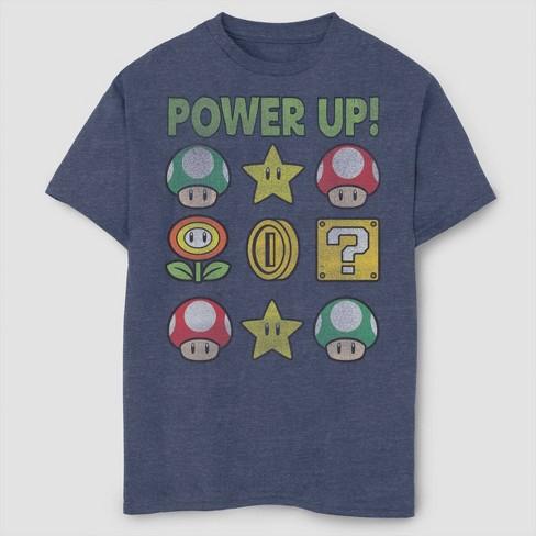 Boys' Super Mario Bros Power up T-Shirt - Navy - image 1 of 2