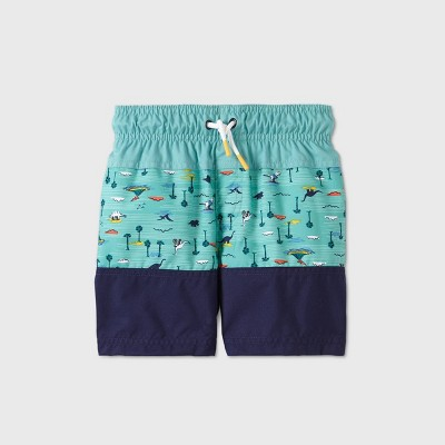 Toddler Boys' Colorblock with Icons Print Swim Trunks - Cat & Jack™ Aqua