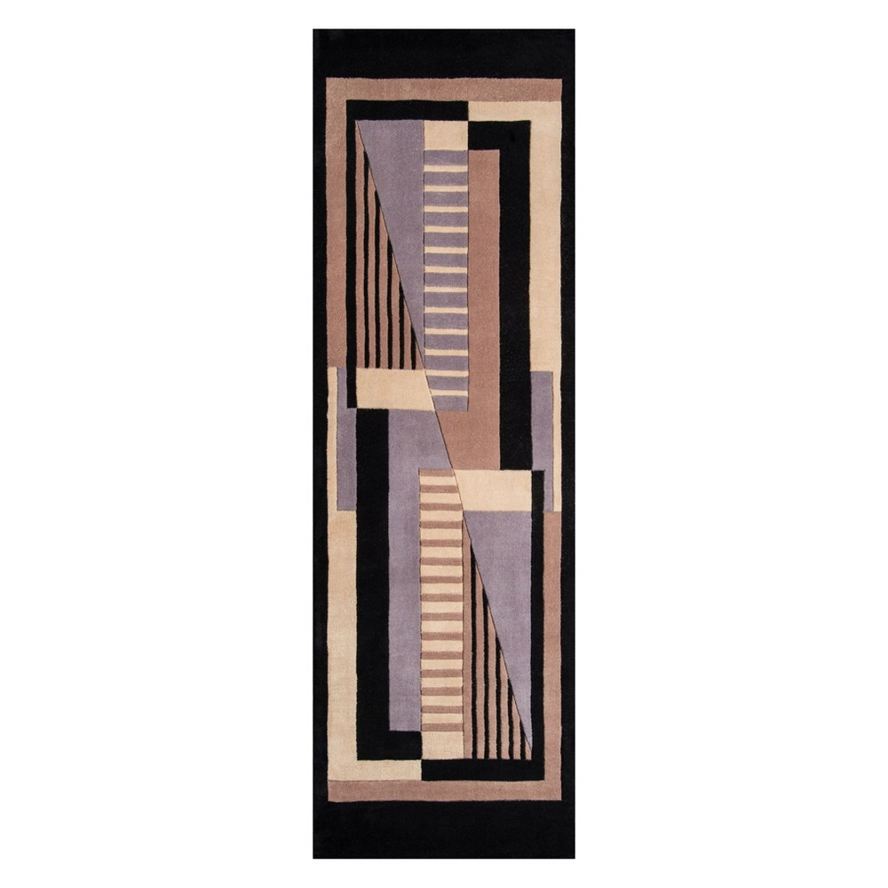 2'6X8' Geometric Tufted Runner Black - Momeni