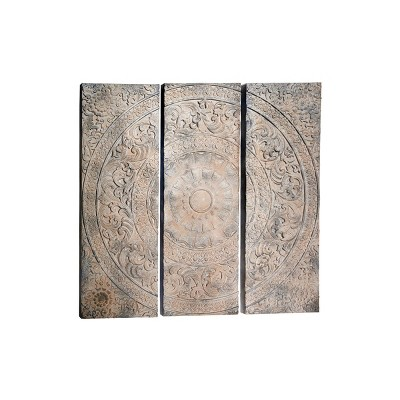 """(Set of 3) 16"""" x 47"""" Large Decorative Carved Wood Wall Decor Panels with Radial Acanthus Carvings - Olivia & May"""