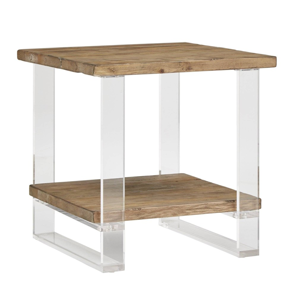 Cadence Reclaimed Wood and Acrylic Accent Table Natural - Inspire Q
