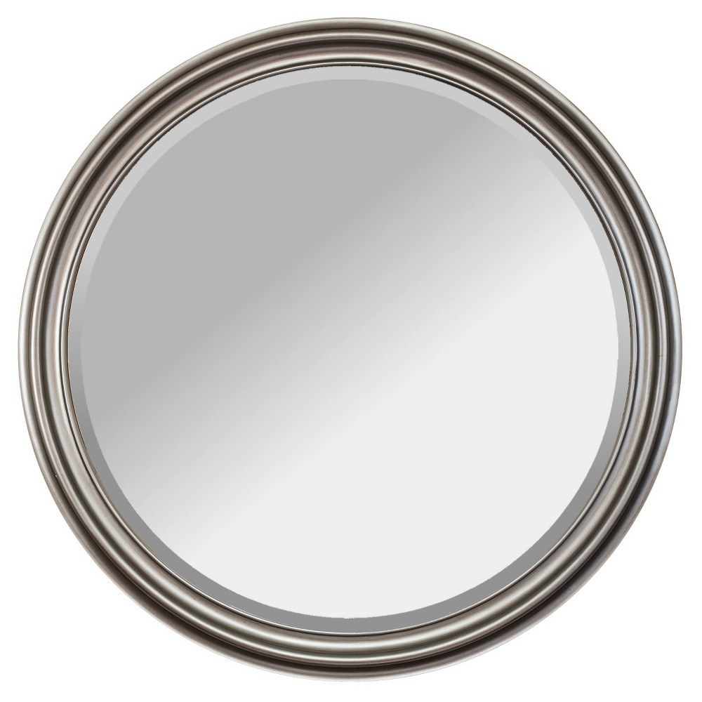 Image of Adele Champagne Framed 36 Round Beveled Glass Wall Mirror - Alpine Art and Mirror, Light Pink