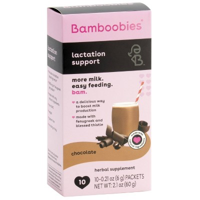 Bamboobies Lactation Support Dietary Supplements Drink Mix - 10ct - Chocolate