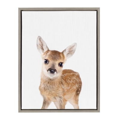 Kate & Laurel 24 x18  Sylvie Baby Deer Animal Print Portrait By Amy Peterson Framed Wall Canvas Gray