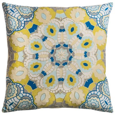 """20""""x20"""" Oversize Poly Filled Medallion Square Throw Pillow Light Yellow - Rizzy Home"""