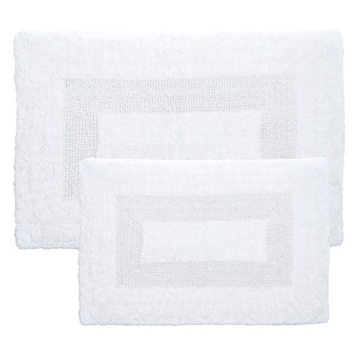 2pc Solid Bath Mat Set White - Yorkshire Home