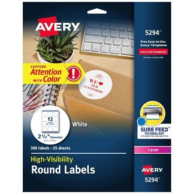 Avery 2-1/2in dia High-Visibility Round Laser Labels- White (300 per Pack)