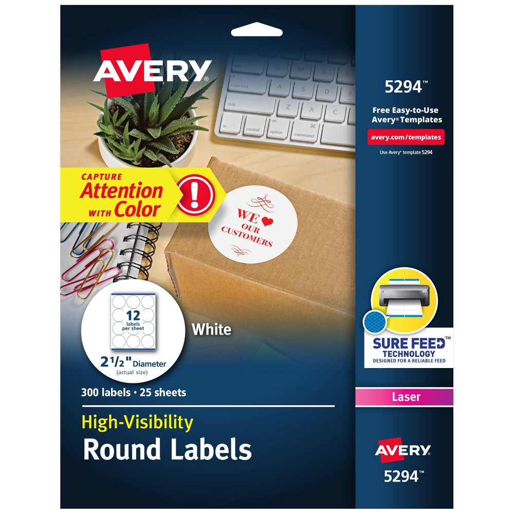 Image of Avery 2-1/2in dia High-Visibility Round Laser Labels- White (300 per Pack)