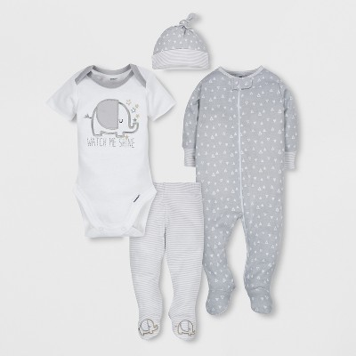 Gerber Baby's 4pc Short Sleeve Bodysuit, Long Sleeve Sleeper Pants and Cap Set - Gray 3-6M