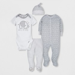 Gerber Baby 4pc Short Sleeve Bodysuit, Long Sleeve Sleeper Pants and Cap Set - Gray Newborn