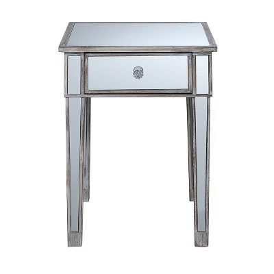 Beau Gold Coast Mirrored End Table With Drawer Weathered White   Johar Furniture  : Target