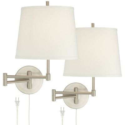 360 Lighting Modern Swing Arm Wall Lamps Set of 2 Brushed Nickel Plug-In Light Fixture Off White Drum Shade Bedroom Living Room